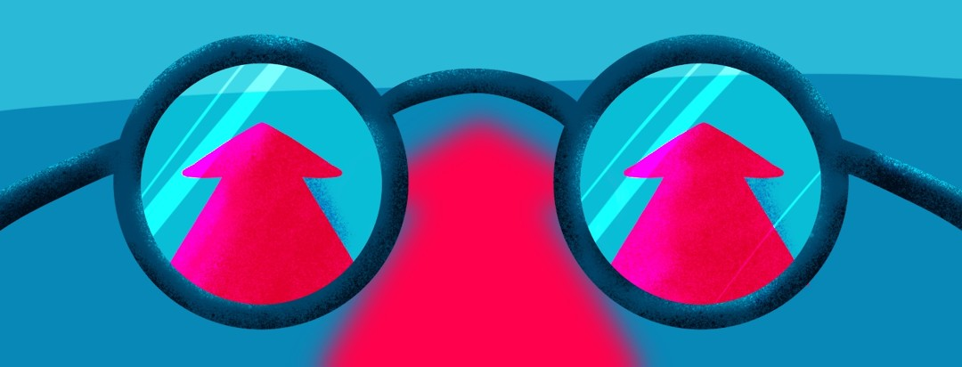 glasses show arrows that point forward