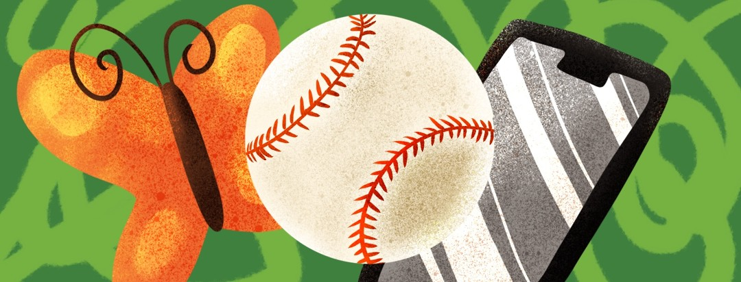 baseball, butterfly, and smart phone