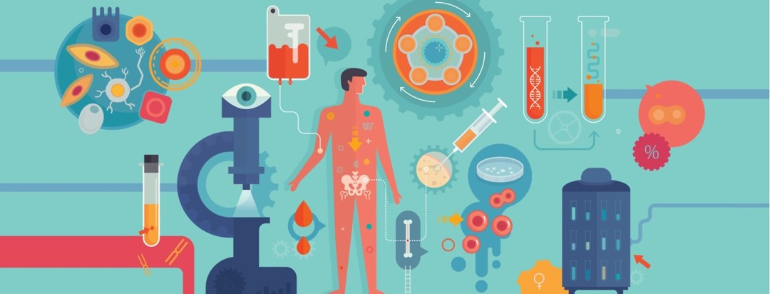 A man is surrounded by tools used in clinical tests and research, such as a microscope, blood samples, and magnified cells.