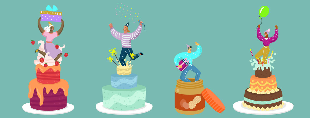 people jumping out of cakes, but one person is jumping out of a jar of peanut butter