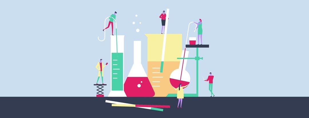 Miniature people interact with giant beakers and test tubes.