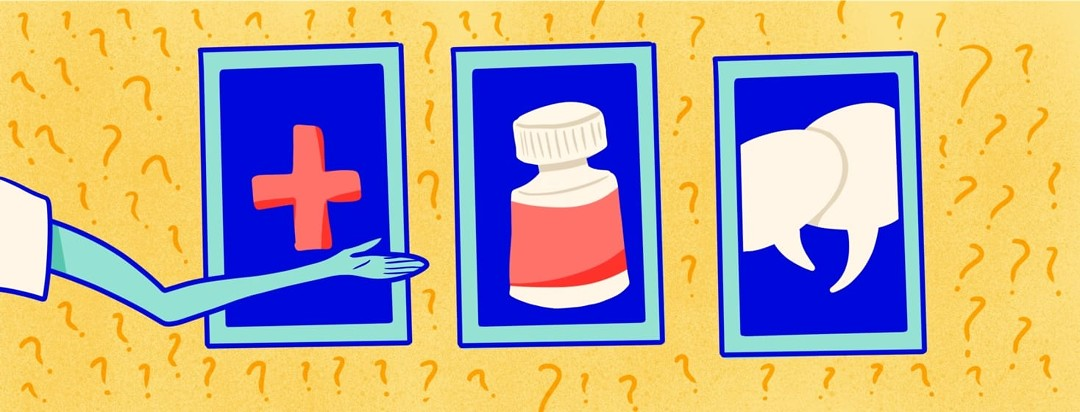 game show host pointing at different medical items