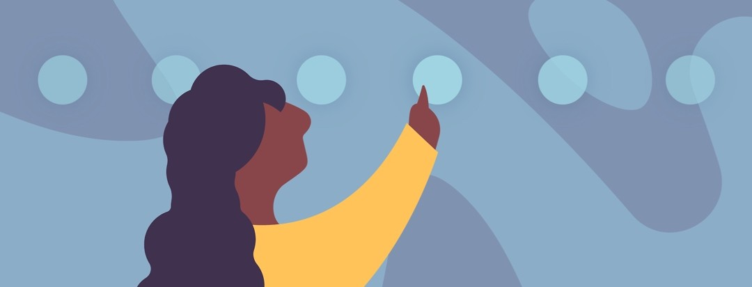 Woman raises arm toward a line of circles as if swiping or selecting.