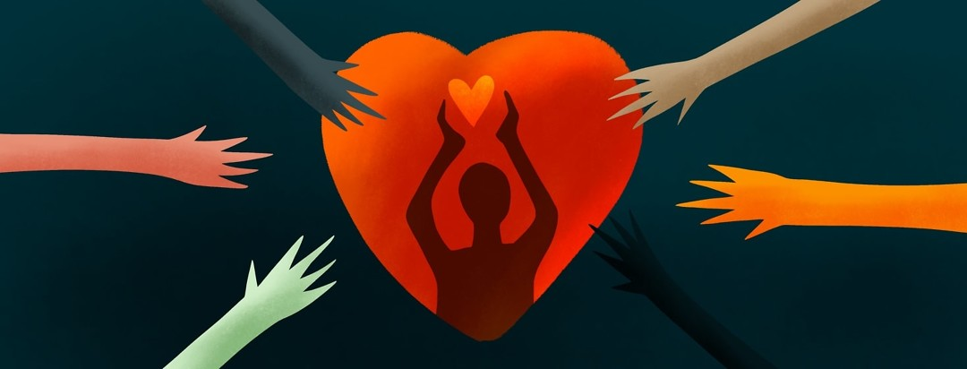 caregiver inside heart with hands surrounding them