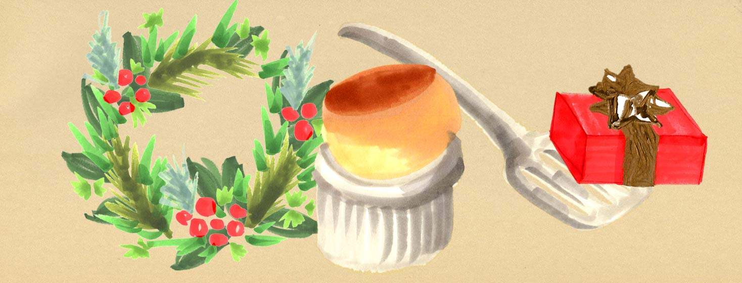 a soufflé with holiday decorations