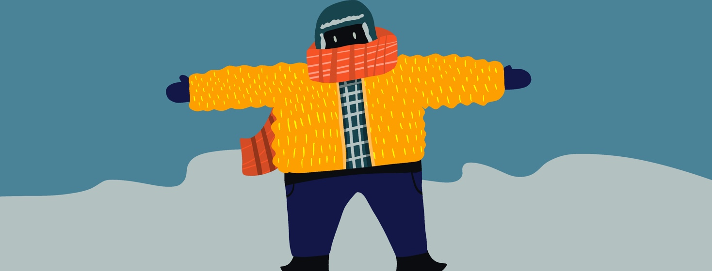 person wearing so many layers they can't move their arms