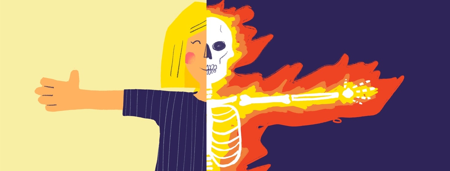 woman is happy on the outside but underneath her skeleton is on fire