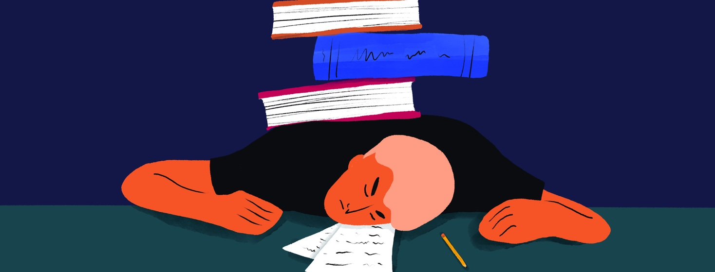exhausted student laying on a desk with a pile of books on their back