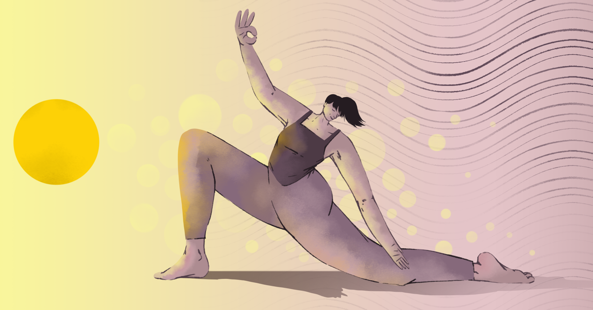 A woman does yoga toward a warm sun with soft circles and wavy lines in the background
