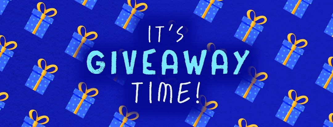 """pattern made of gifts with caption """"it's giveaway time!"""""""