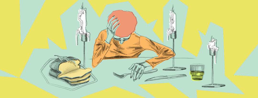 exhausted person at dinner table