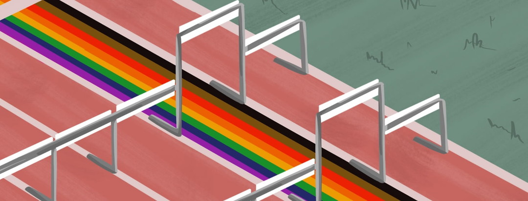 A track with hurdles - one lane has rainbow stripes painted in it with higher hurdles than the rest,