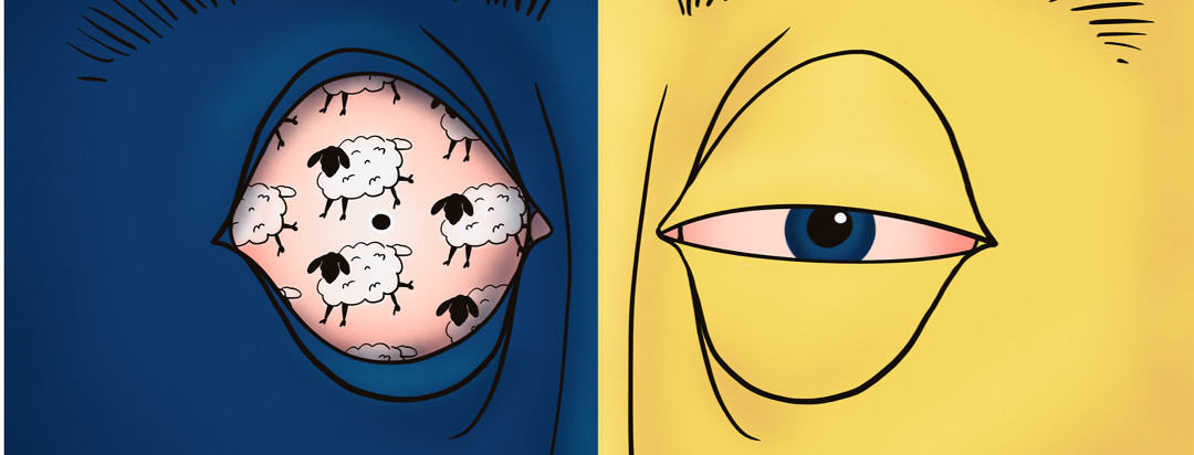 person with half of face dark blue with sheep in its eyes and the other half of face yellow with sleepy eye