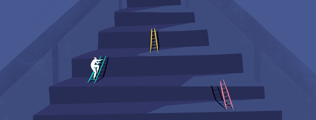 A woman is climbing an enlarged staircase with ladders set up between each step to emphasize scale