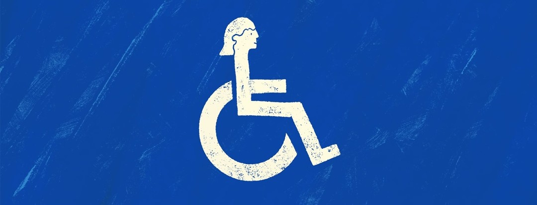 disability symbol with a woman's face