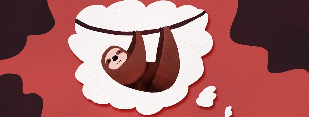 a sloth in a thought bubble