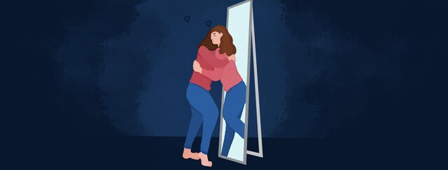 a woman hugging hear own reflection