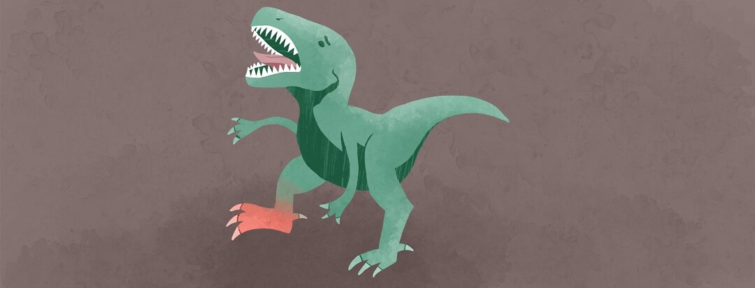 a dinosaur with a hurt foot