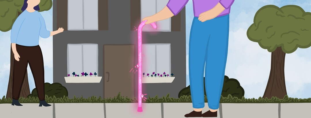 Adult walking down sidewalk in public with pink sparkly cane.