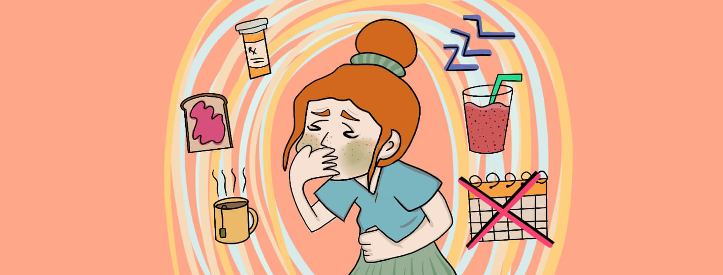Person with AS feeling nauseous, but she knows she will feel better if when she uses the remedies floating around her.