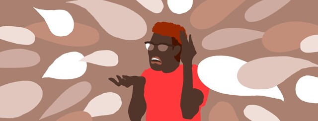 A frustrated man is bombarded by speech bubbles from all sides