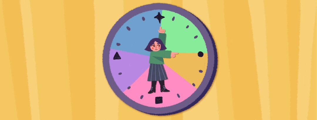 Adult female stands in the middle of an analog clock. She is pointing to specific times representing time management and scheduling.