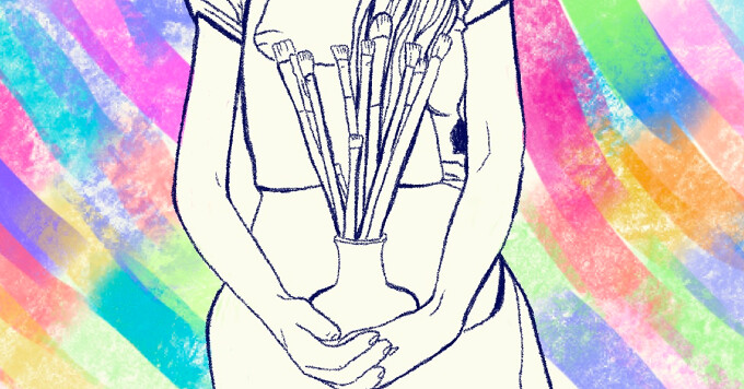 A woman sits with a vase of paintbrushes in her lap