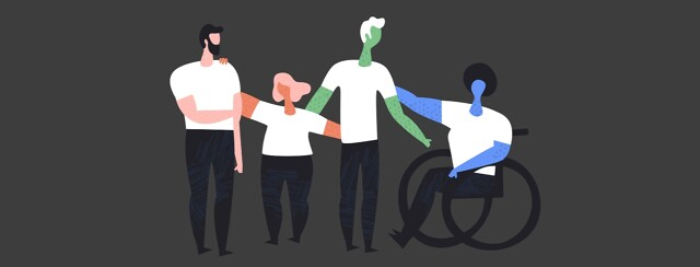Group of diverse people with disabilities, one in a wheelchair, arms around each other