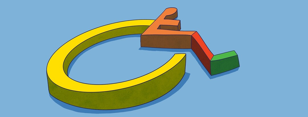 a handicap symbol broken up into different sections with different colors to represent severity
