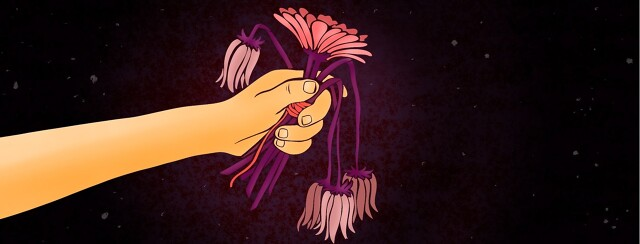 A hand holds out a bouquet of wilted flowers