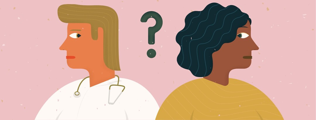 a woman and her doctor look at each other with skepticism