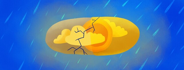 a pill that contains sunshine while it is raining outside, but the pill has a crack in it